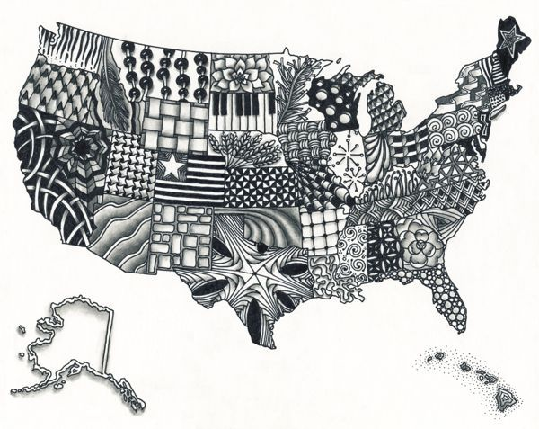 Best Images About Art On Pinterest Jesus Drawings United - Sketch drawing us with states map
