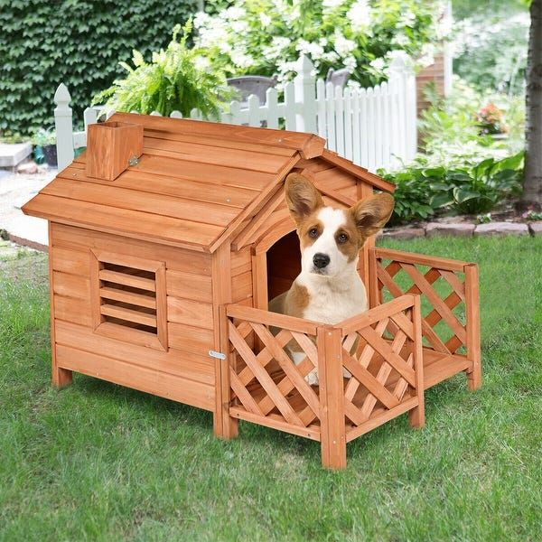 Gymax Wooden Pet Dog House Kennel Shelter Crates With Porch Window