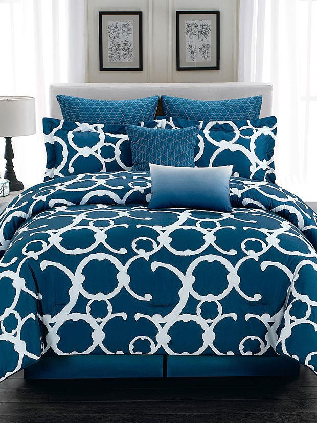 Duck River Rhys Hotel Quilted Comforter Set   Dark Blue/Navy
