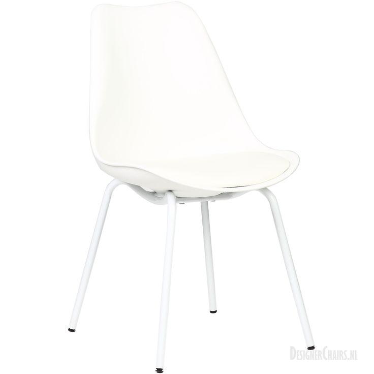 DOW-Consilium Eetkamerstoel | Wit - Wit | Designerchairs.nl De stoel is voorzien van een zwart of wit poeder gecoat onderstel en een comfortabel gestoffeerd zitkussen in bijpassende kleur.