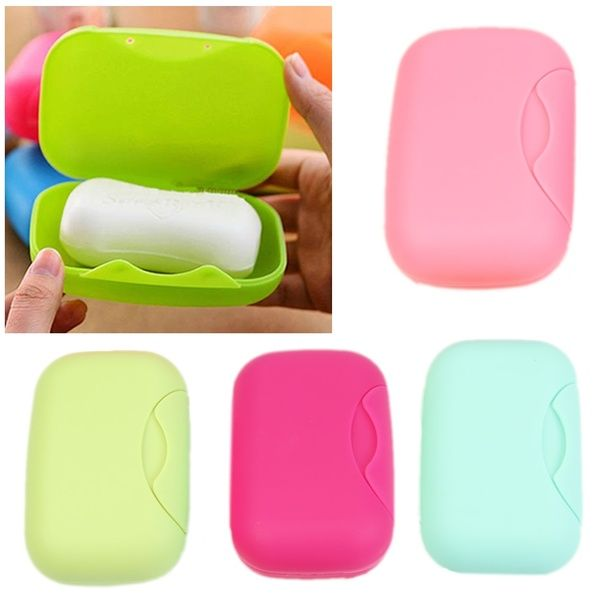 2PCS Travel Outdoor Hiking Bathroom Shower Soap Dish Box Case Holder Container