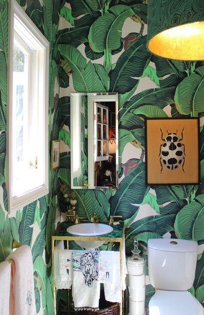 LeafLeaf Wallpaper, House Tours, Jungles, Beverly Hills, Bananas Leaf, Powder Room, Interiors, Leaves, Bathroom Wallpapers