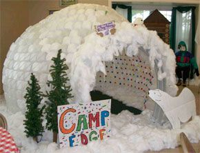 Indoor Igloo - constructed of plastic milk jugs, hot glue used to assemble and polyester filling to decorate - AAAAAAAAAAWESOME!