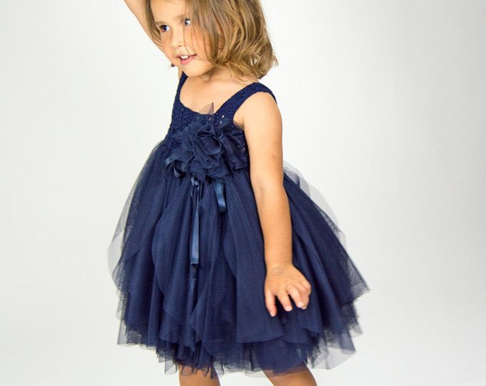 Navy Blue Empire Waist Baby Tulle Dress with Stretch Crochet Top.Tulle dress  for girls with lacy crochet bodice.