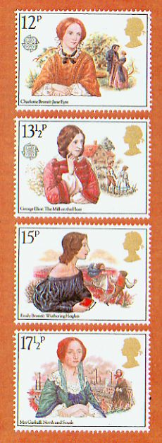 Books and Authors on Postage Stamps  Collection of James M. Hutchisson  12p: Charlotte Bronte's Jane Eyre 131/2p: George Eliot's The Mill on the Floss 15p: Emily Bronte's Wuthering Heights 171/2p: Mrs. Gaskell's North and South