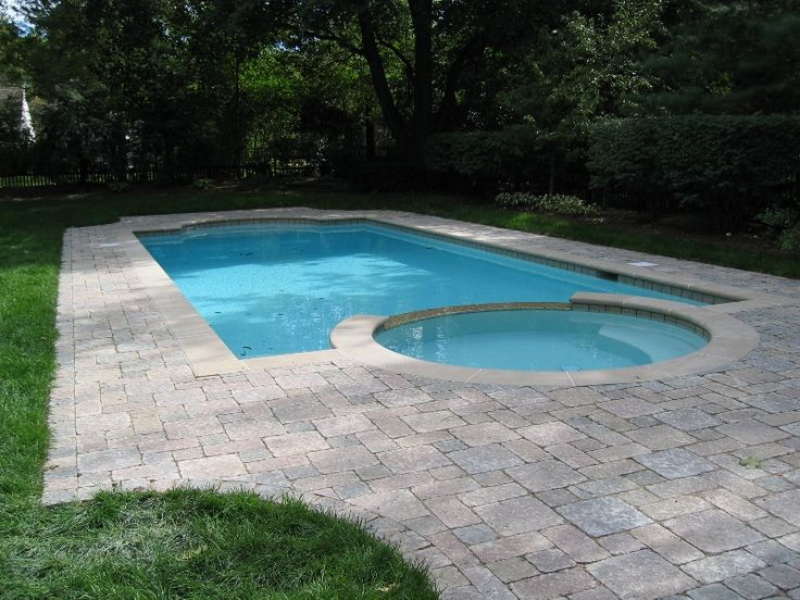 Inground pool with spa sites pinterest for Custom inground swimming pools