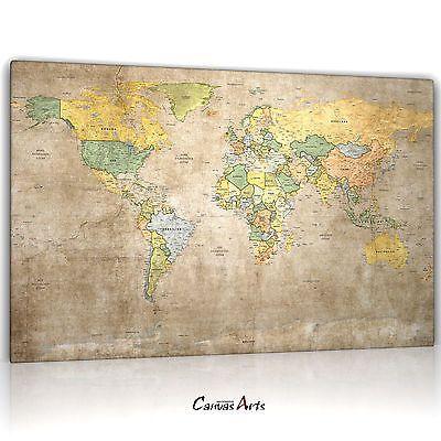 Weltkarte VII, Leinwand Bild auf Keilrahmen, Antik Vintage Grunge 14.2801