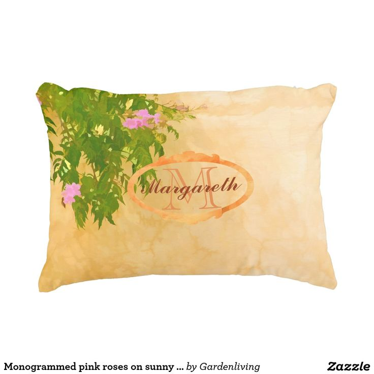 Pillow, monogramed with pink roses on sunny Mediterranean wall. Add your name and monogram letter. #custom #home #decor #interior #gift #unique #best #zazzle