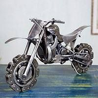 Collectible Recycled Metal Motorcycle Sculpture - Rustic Motorcross Bike | NOVICA