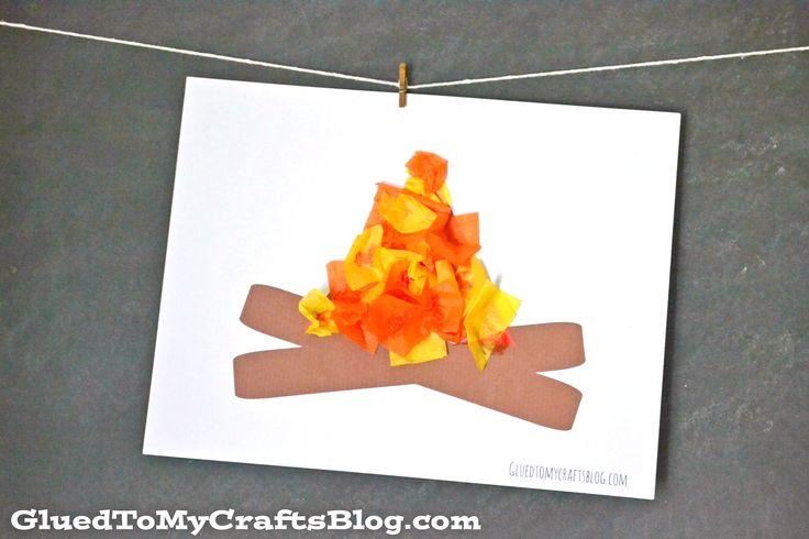 Tissue Paper Campfire - Kid Craft w/free printable