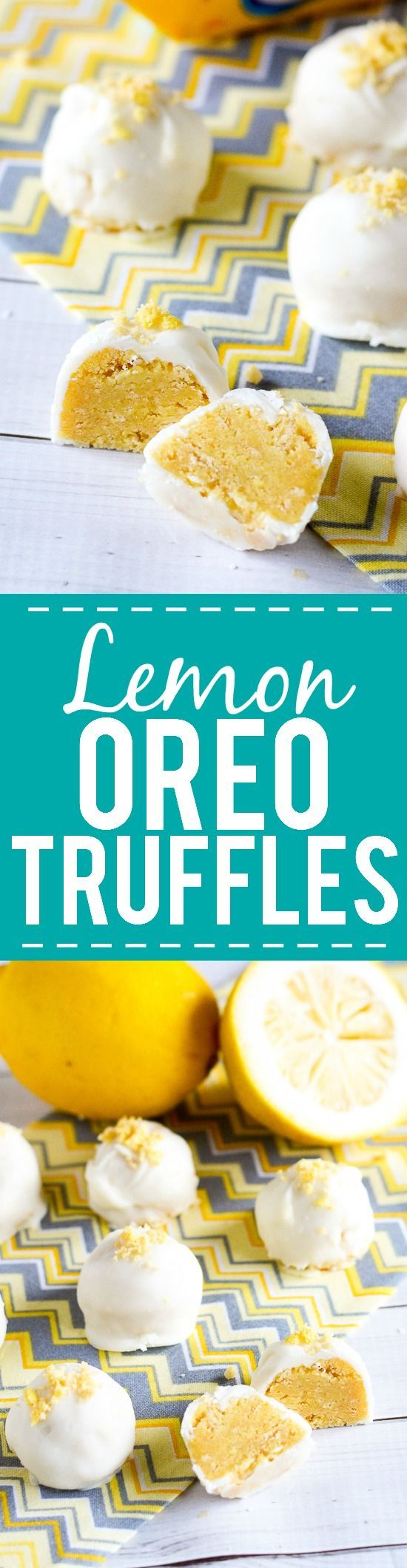 Lemon Oreo Truffles Recipe - Zesty and sweet Lemon Oreo Truffles covered in creamy white chocolate are a super easy dessert recipe that's no bake and a guaranteed hit! Easy no bake dessert recipe. Oreo truffles are the best!
