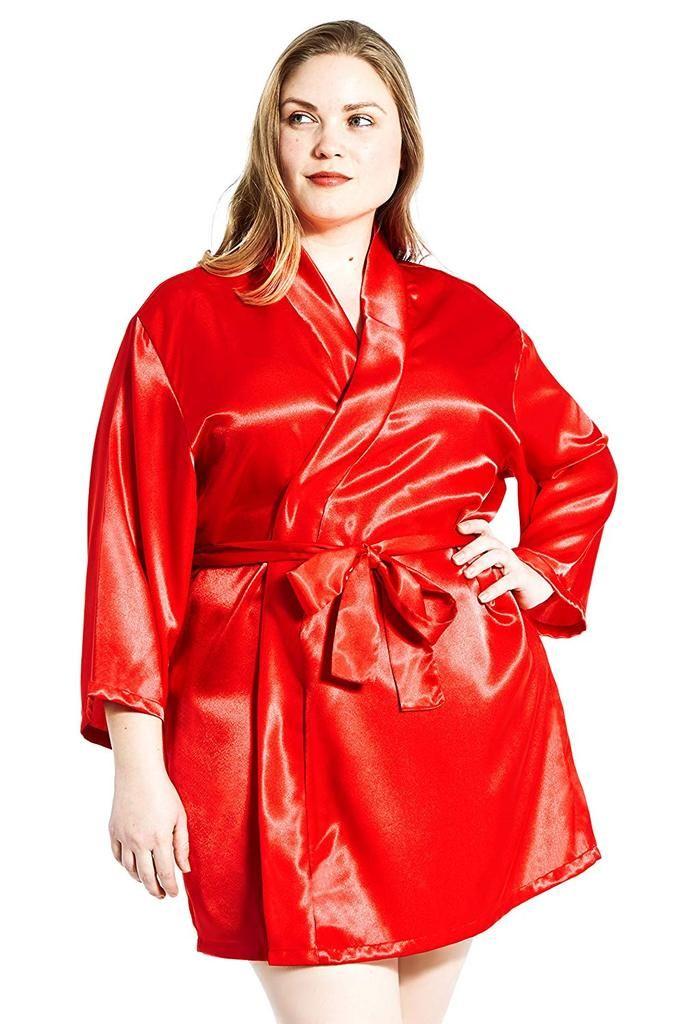 Jovannie Womens Satin Plus Size Kimono Robe With Matching Sash