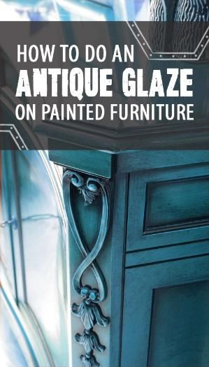 How to Do an Antique Glaze on Painted Furniture. Using black paint, a glazing medium and a few drops of water, you can create a dark, antiqued effect in the cracks and corners of your piece. More on the web site. by graciela