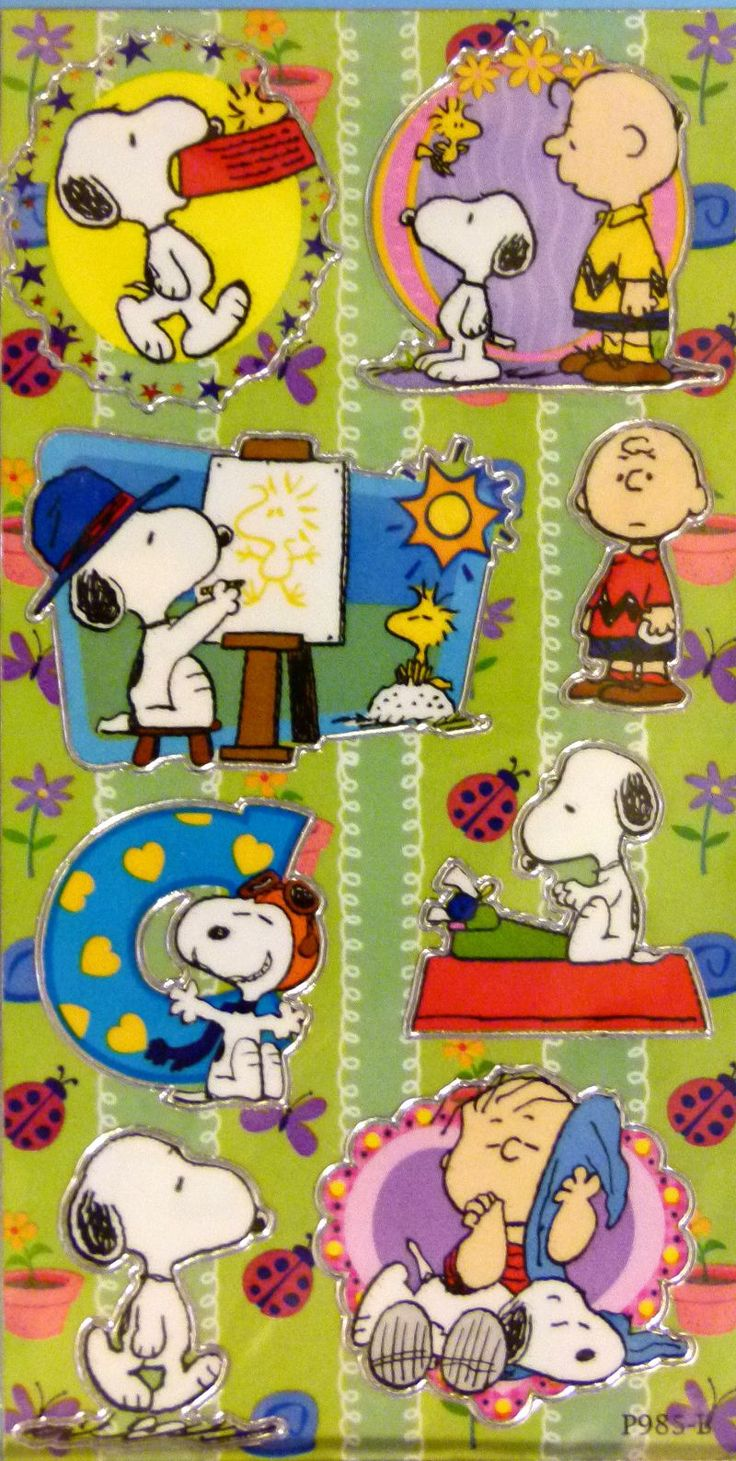Peanuts Gang Vinyl-Covered Stickers With Silver Border