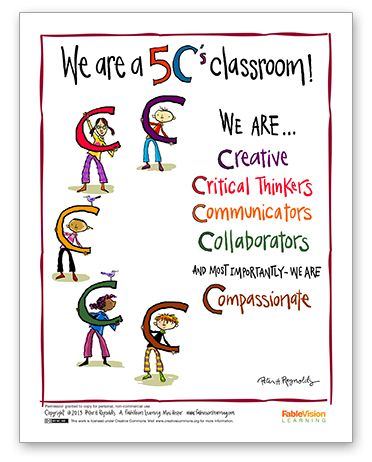 New Peter H. Reynolds Poster: We're a 5 C's Classroom