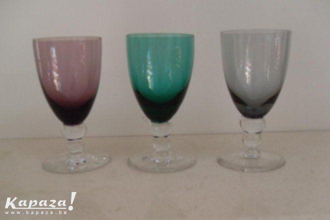 3 glaasjes carnaval glas leerdam, Overige kunst en antiek, Brasschaat | Kapaza.be