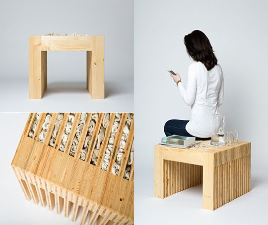 """Thanks to the wool filling great for isolation and more comfortable than solid wood - """"Stool"""" by Katarína Kováčová"""