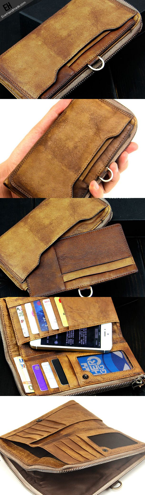 Handmade men long leather wallet men vintage brown gray long wallet for him-SR