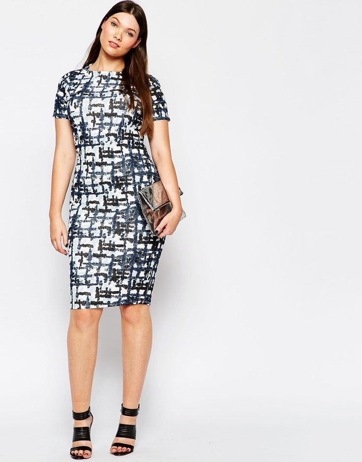 Image 4 of ASOS CURVE Bodycon Midi Dress in Abstract Check Print: