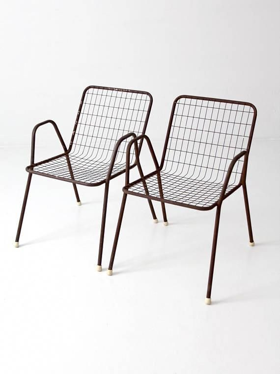 Mid Century Patio Chairs Metal Wire Chairs Set Of 2 Outdoor