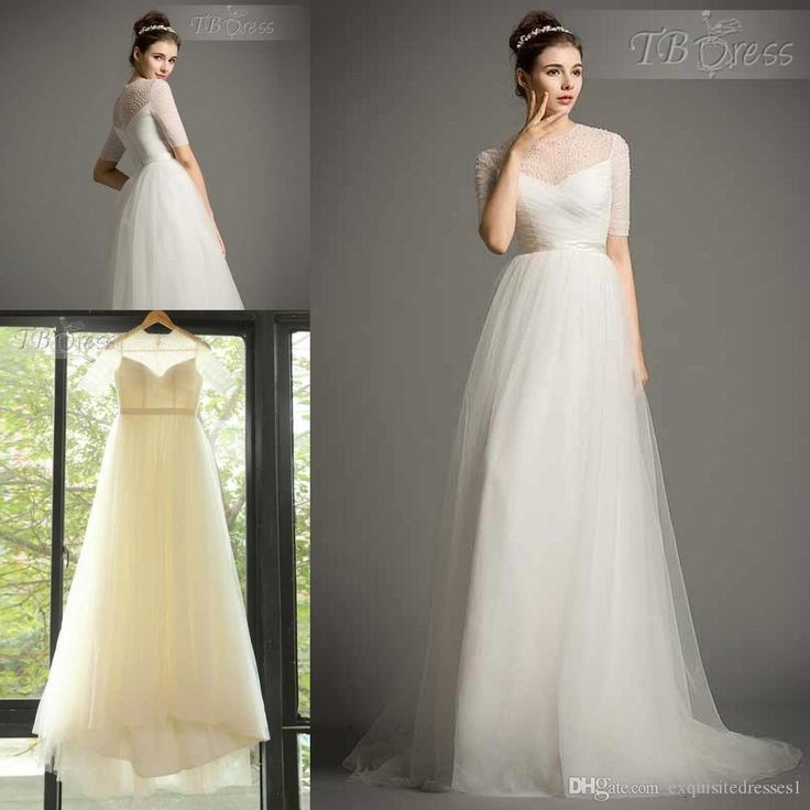 Custom Made 2015 New Elegant Tulle Short Sleeves A Line Pearls Beading Wedding Dre Style Hj11369399 Wedding Gowns Wedding Dresses With Prices Wedding Gown Lace From Exquisitedresses1, $165.83| Dhgate.Com