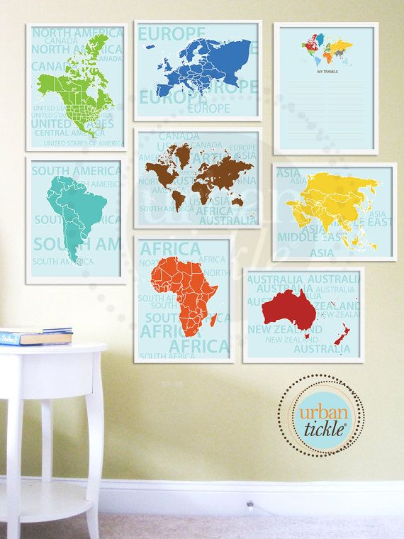 World Map Art for Nursery, Travel List and Continents, Set of Eight, 8.5X11 Inches, Playroom decor, Baby Gift, Nursery Decor