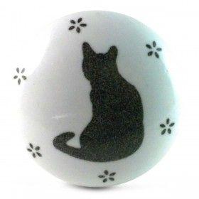 Bouton de Meuble Silhouette Chat