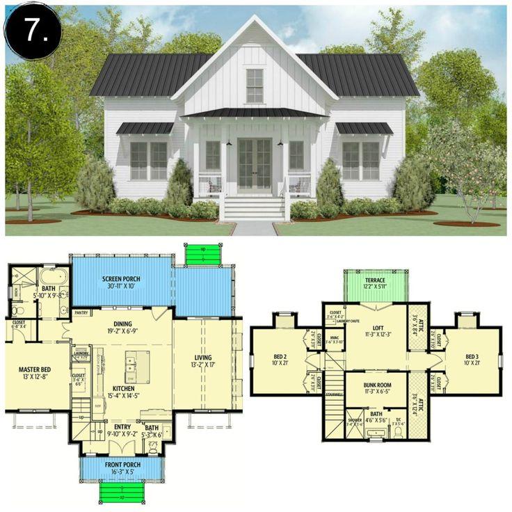 10 Floor Plans Under 2,000 sq ft / Gorgeous farmho…