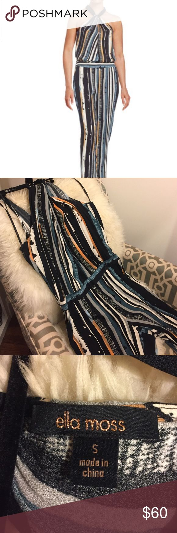 """Ella Miss Rainforest striped jumpsuit Beautiful, vertical print jumpsuit with a twisted halter neck and a drop waist- super flattering slouchy viscose fabric. A beautiful blend of blues, peach, white and grey. 30"""" inseam. Perfect for a night out! 💥 Ella Moss Pants Jumpsuits & Rompers"""