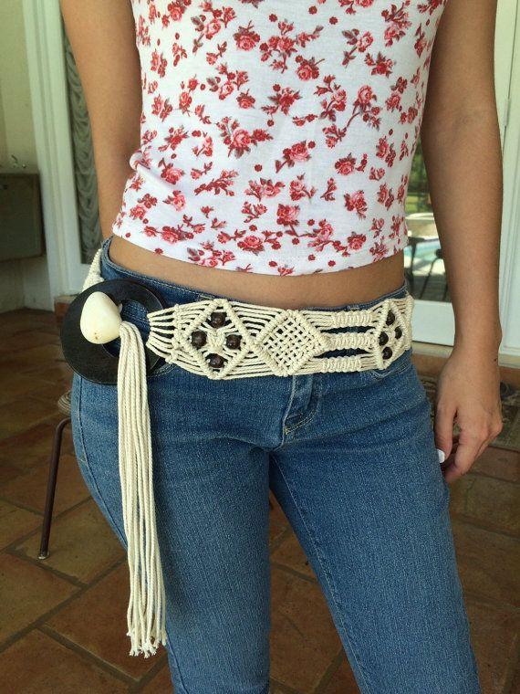 Vintage Macrame Belt Women's Belts Woven Belt by VintageSignora