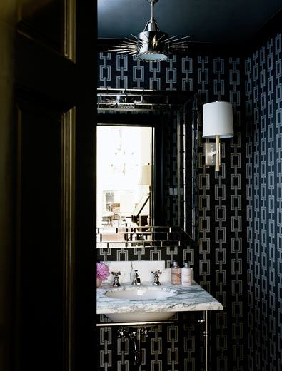 Suzie Courtney Hill Interiors Stunning Powder Room With Phillip Jeffries Voyage Collection