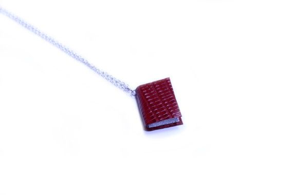 Textured Marron Red Leather Bound Tiny Handcrafted Miniature Book Necklace - Upcycled Literature - Paper Jewellery - Lizard Print https://www.etsy.com/nz/shop/ExLibrisJewellery
