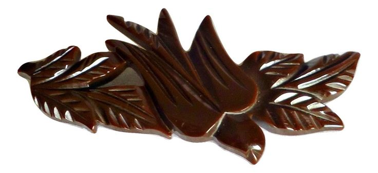 Vintage Bakelite Bird Brooch Chocolate Brown Pin 1940's by TreasureCoveAlly on Etsy