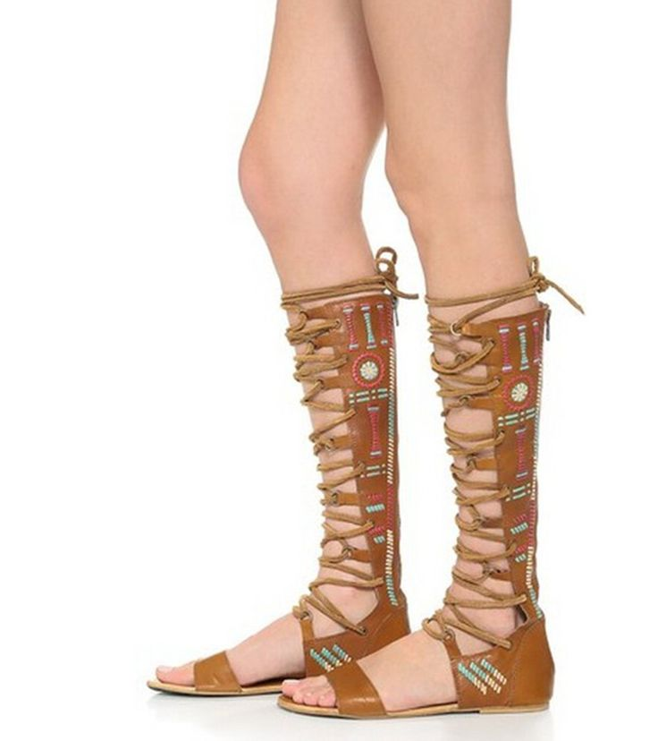 Minitoo Women's Open Toe and Back Zip Cowhide Roman Style Knee High Gladiator Flats Sandals: Amazon.co.uk: Shoes & Bags