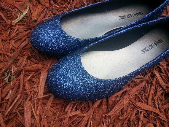 100% made to order Beautiful sparkly bridal navy blue glitter shoes A bridal looks fairy after wearing them on big day These are flats/ comfortable