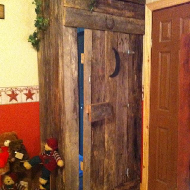 Outhouse door to my bathroom bathroom pinterest for Outhouse bathroom ideas