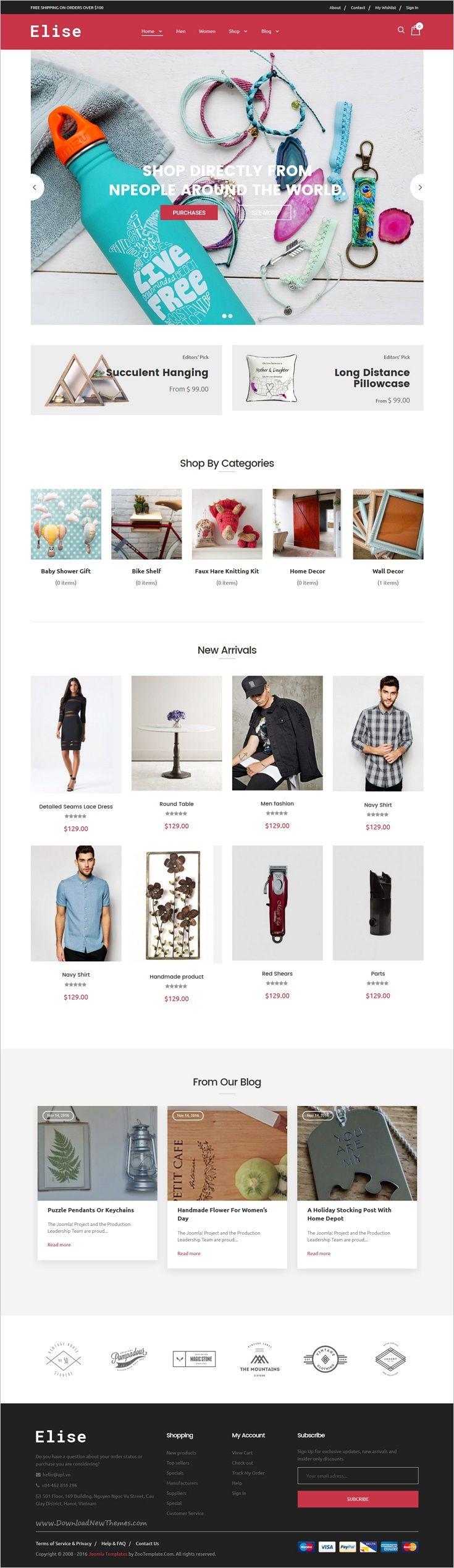 Joomla tshirt design - Elise Responsive Virtuemart Joomla Template