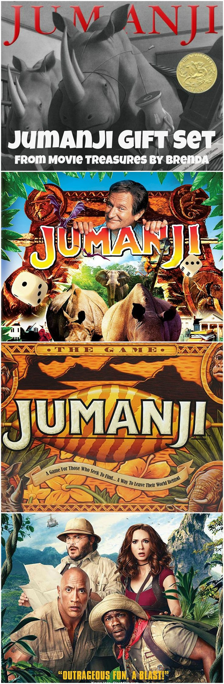 Build a Jumanji gift set for yourself or someone else who loves the movie. Include a copy of the movie -- whether you prefer the Robin Williams version or the Dwayne Johnson version -- a copy of the book and the board game. #jumanji #giftsets #giftideas