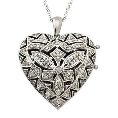 1/7 CT. T.W. Diamond Vintage Heart Locket in Sterling Silver - Zales