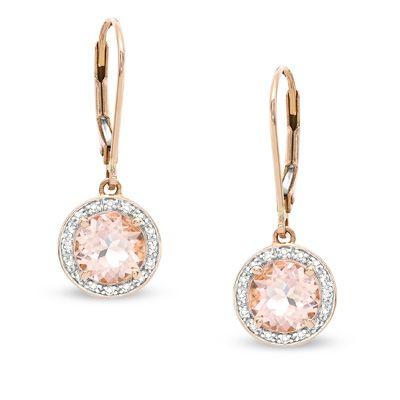 7.0mm Morganite and 1/8 CT. T.W. Diamond Drop Earrings in 14K Rose Gold