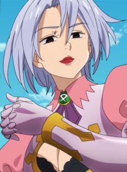 Jericho is a young woman of slim build, with light (lavender/silver in the anime) hair that is swept over the left side of her face and tied into a ponytail at the back. Description from nanatsu-no-taizai.wikia.com. I searched for this on bing.com/images