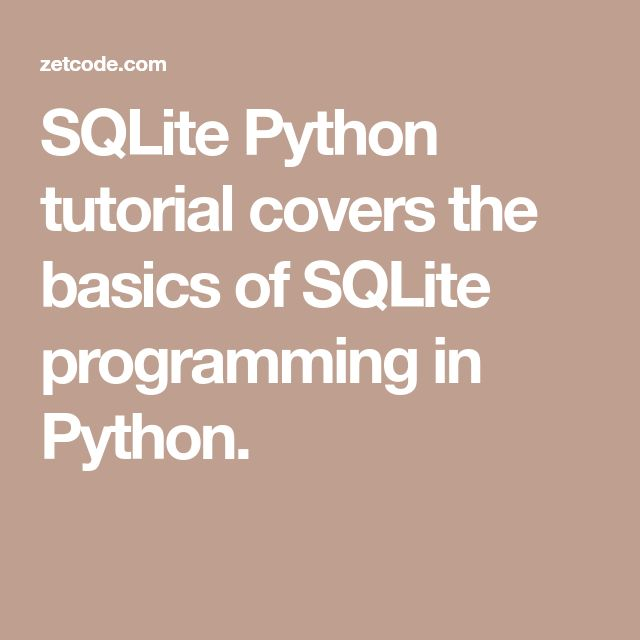 sqlite python tutorial pdf