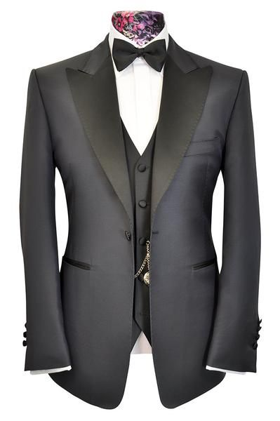 The Morgan Classic Navy Jacket with Contrasting Black Lapel - William Hunt Savile Row  - 1