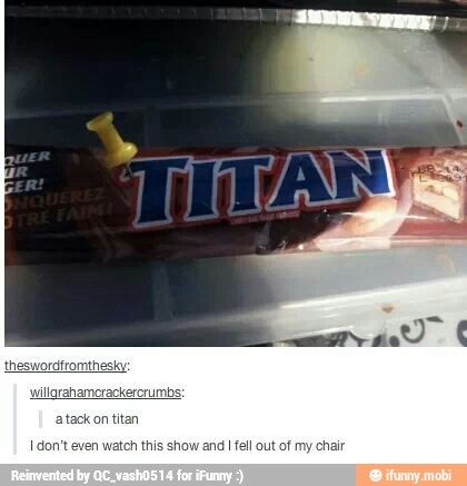 Attack on Titan...I don't even watch this show, and this is still hilarious! :D