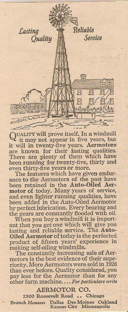 1929 AERMOTOR AUTO OILED LASTING QUALITY WINDMILL AD CHICAGO ILLINOIS | eBay
