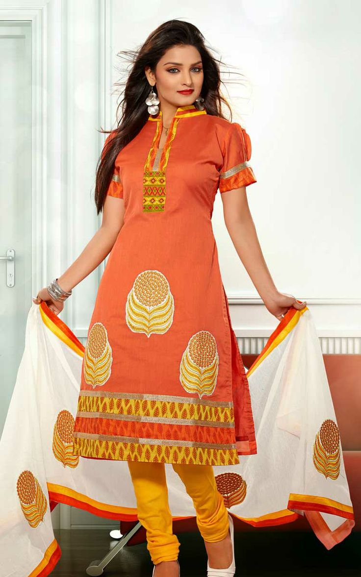 ORANGE & YELLOW CHANDERI COTTON SALWAR KAMEEZ - RUD 33005C