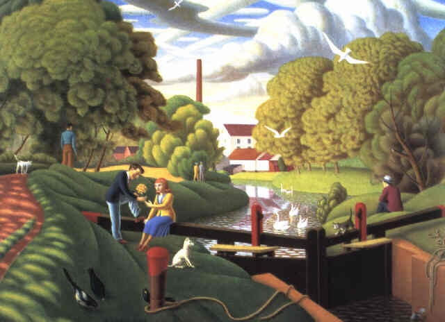 "John Luke (Irish, 1906 – 1975) - ""The Locks at Edenderry"", 1944"