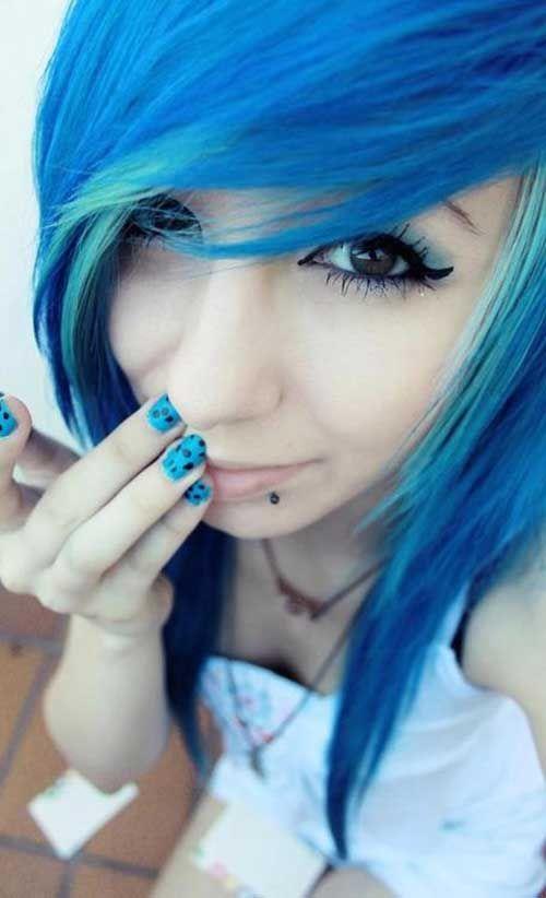 super cabelos emos azuis