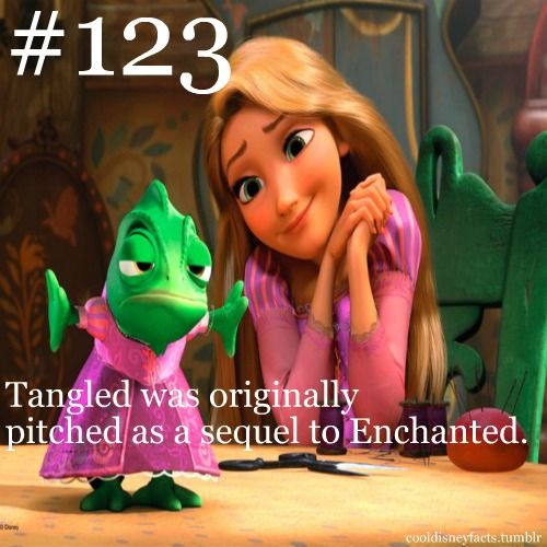 Tangled was originally pitched as a sequel to Enchanted.  It featured Rapunzel being changed into a squirrel in the real world, and her place in the fantasy being taken by a girl from the real world.