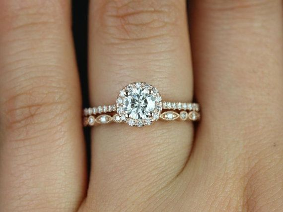 Ultra Petite Kubian & Ultra Petite Bead Eye 14kt FB Moissanite and Diamonds Halo Wedding Set (Other metals and stone options available)